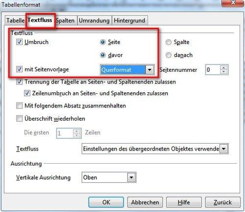 open office querformat einstellen