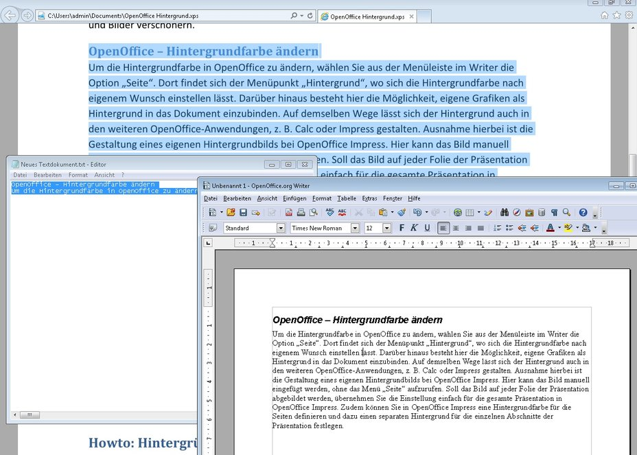 OpenOffice XPS Screenshot