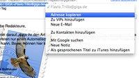 OS X Kurztipp: E-Mail-Adressen in Mail kopieren ohne < >