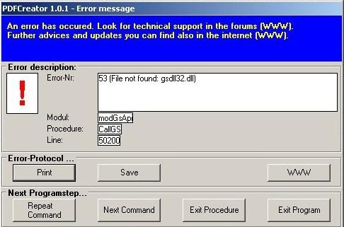 gsdll32.dll pdfcreator