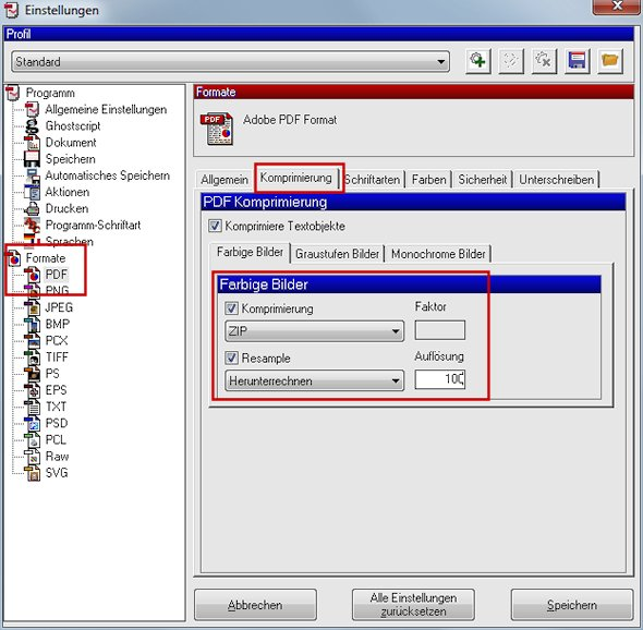 PDFCreator PDF-Komprimierung
