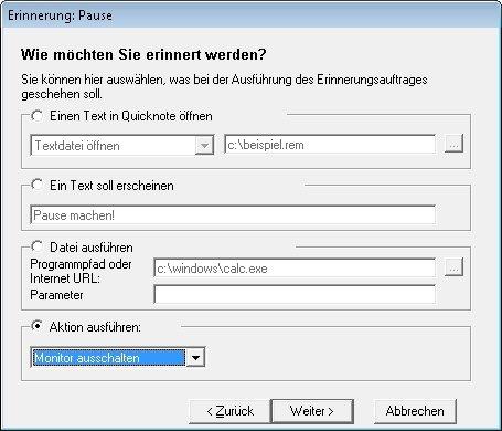 Quicknote kann den Anwender auch an Termine erinnern