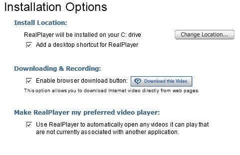 Google Chrome Realplayer Optionen Screenshot