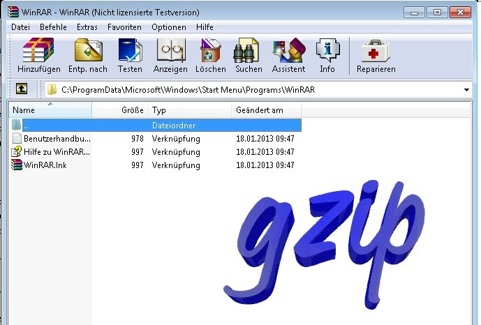 WinRAR TAR-GZ entpacken