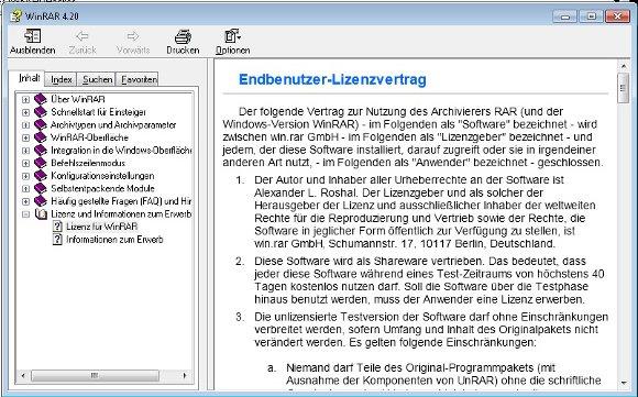 WinRAR nicht lizensierte Version