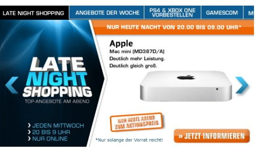 Apple Mac mini mit 2,5 GHz i5 im Late Night Shopping bei Saturn