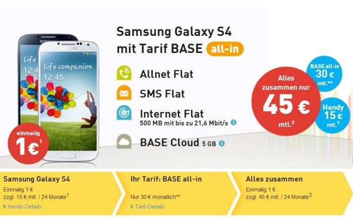 BASE all-in Allnet Flat mit Samsung Galaxy S4 für 45 Euro monatlich