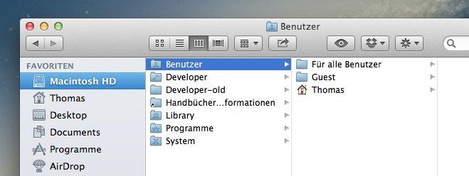 Benutzerordner nach dem Mac-Sturz