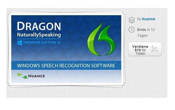 Dragon NaturallySpeaking Premium 12 für 74,65 Euro bei Stacksocial