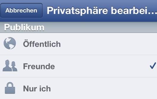 Privatsphäre Facebook