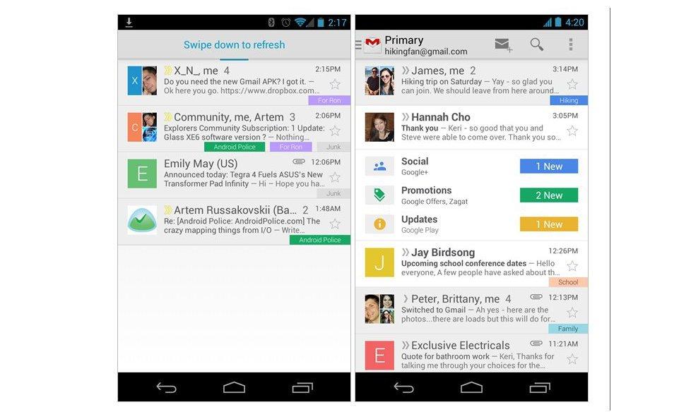 Neue Gmail-App verfügbar, kann manuell installiert werden