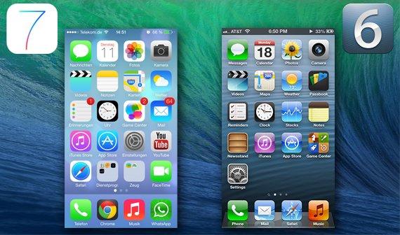 Homescreen iOS 6 vs iOS 7