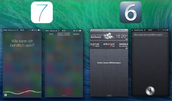 Notification Center & Siri iOS 6 vs. iOS 7