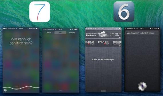 Notification Center & Siri iOS 6 vs. iOS 7