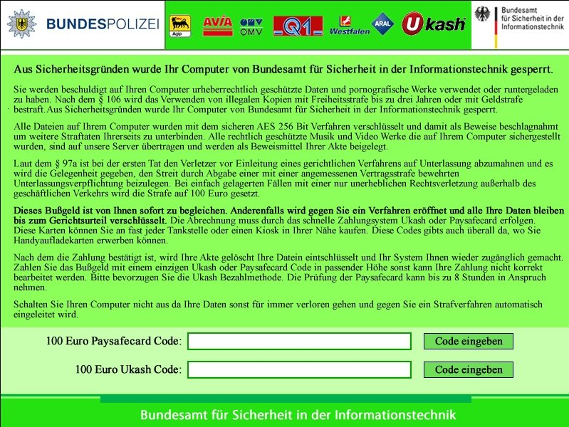 BSI Ukash Trojaner Screenshot