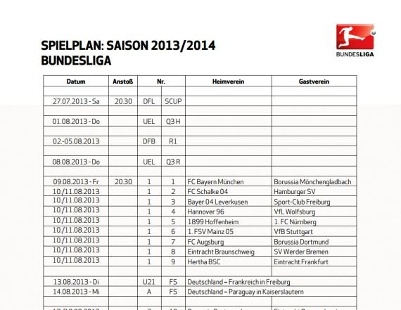 Bundesliga Spielplan Screenshot