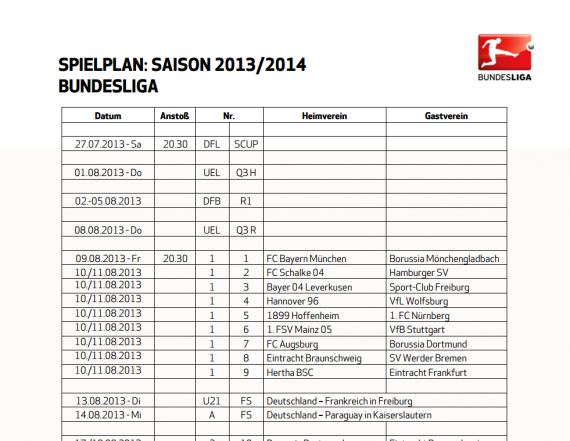 Bundesliga Spielplan 2013/2014 Download – GIGA