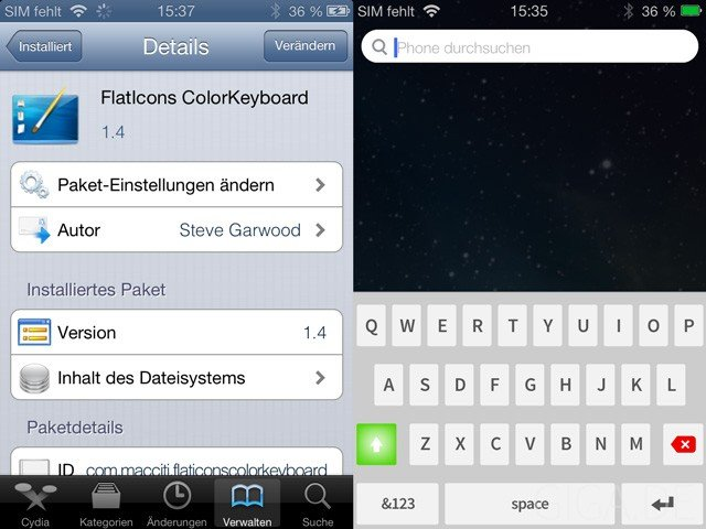 "Color Keyboard mit ""FlatIcons ColorKeyboard"""