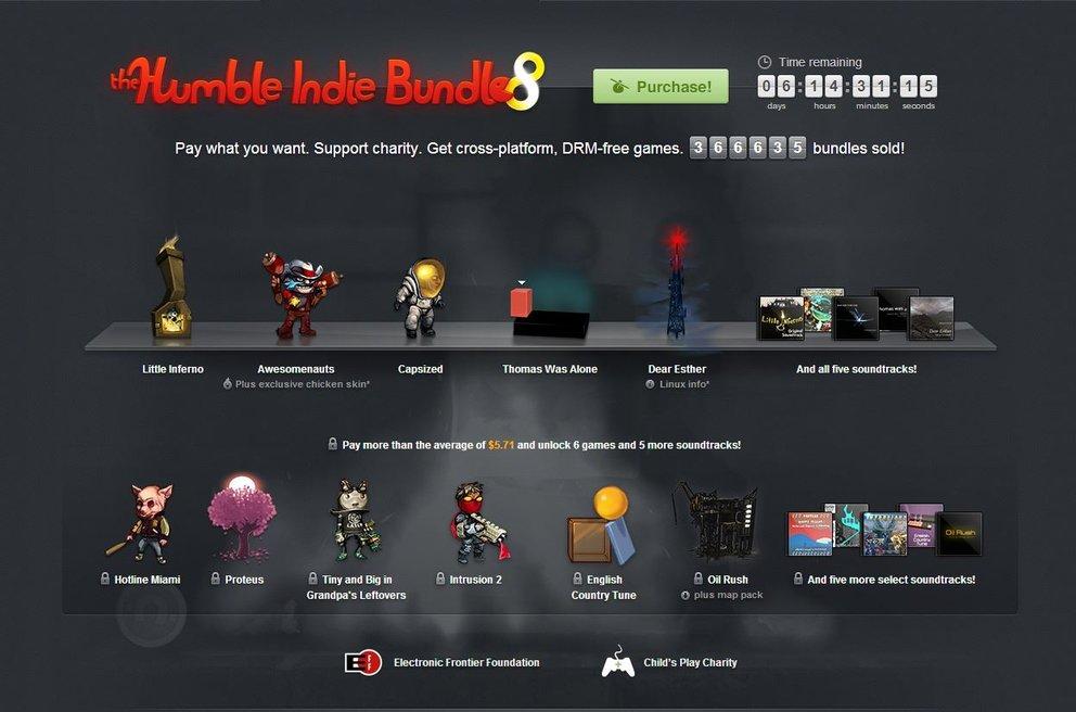 Humble Indie Bundle 8: Vier neue Titel hinzugefügt, 2 Millionen Umsatz erreicht