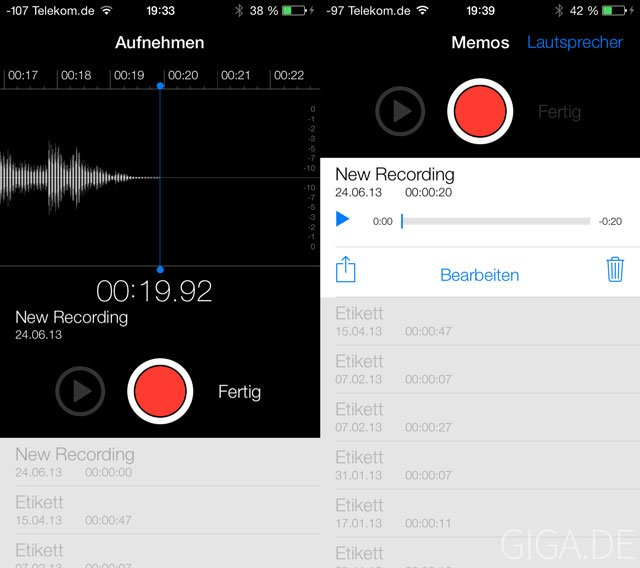 iOS 7 Beta 2 Sprachmemo-App