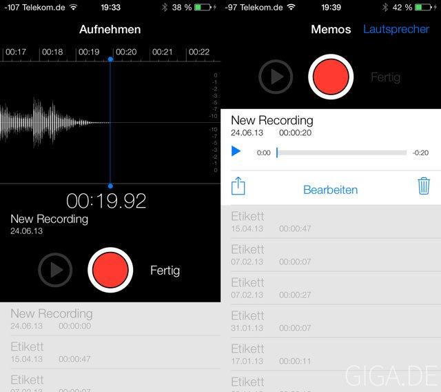 iOS 7 Beta 2 Sprachmemo-App