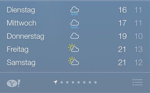 iOS 7 Beta 2 - Neuer Übersichts-Button in der Wetter-App