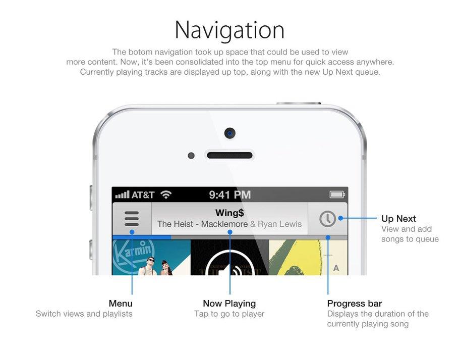 Designstudie für neue Musik-App in iOS 7 - Neue Navigation