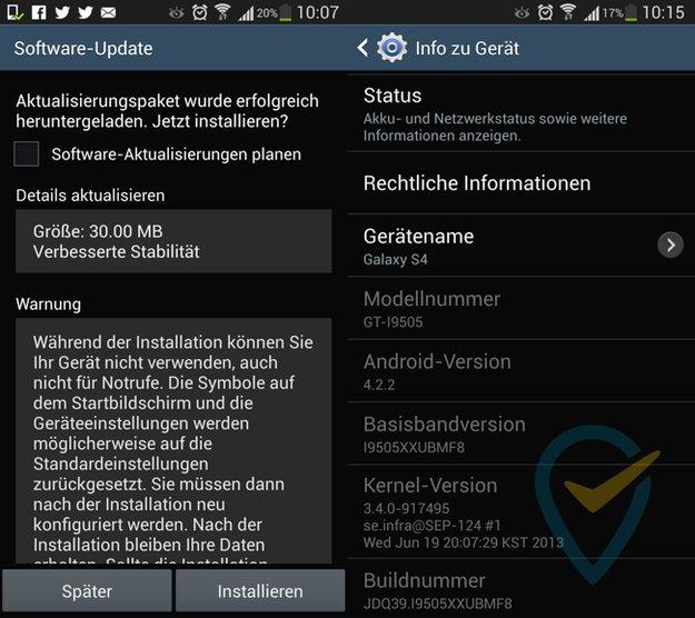 Samsung Galaxy S4: Stabilitäts-Update auf XXUBMF8 wird verteilt