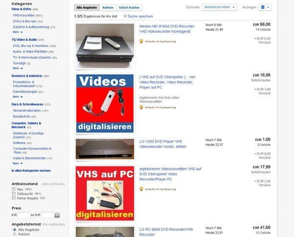 VHS DVD Ebay Hardware