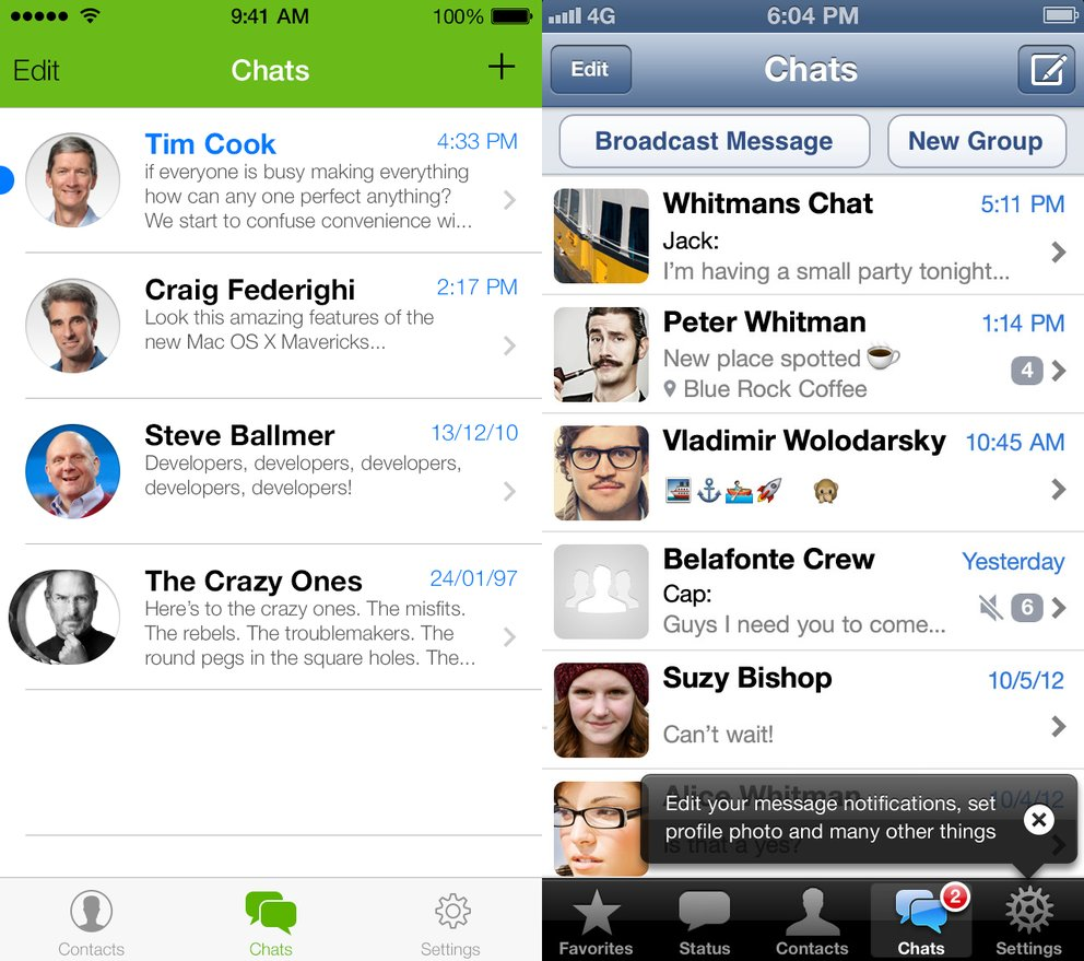 WhatsApp in iOS 7