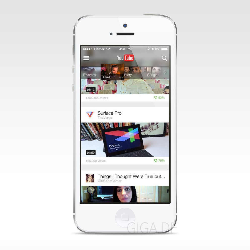 Youtube für iOS 7 - Konzept von Falko Joseph