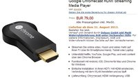 Chromecast: Bei Amazon.de gelistet, lieferbar ab 31. August?