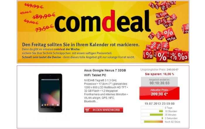 Asus Google Nexus 7 für 209,00 Euro bei Comtech