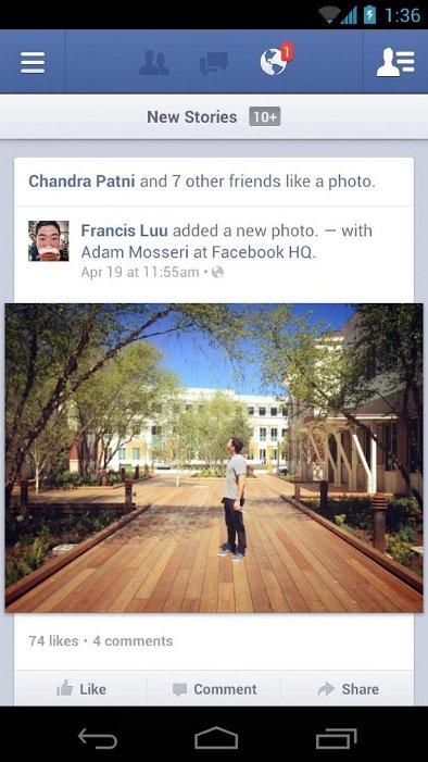 Facebook für Android Oberfläche