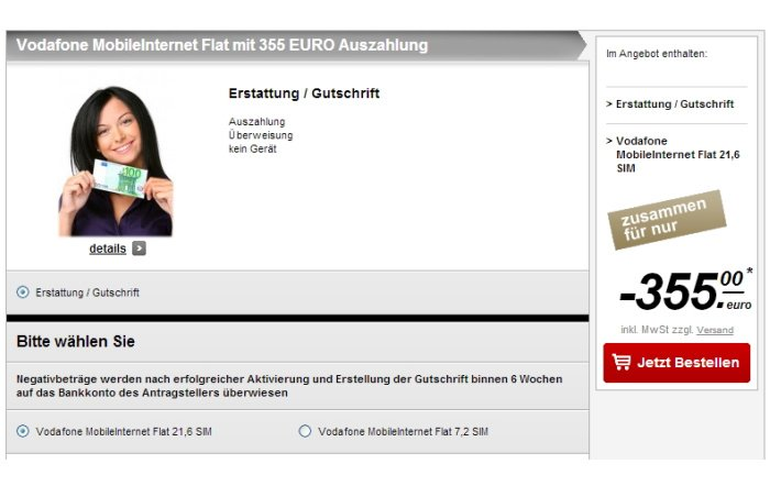 Mobile Internet Flat mit 355 Euro Auszahlung bei handytick