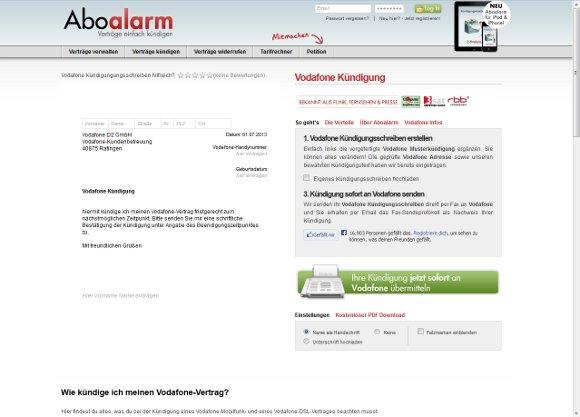 Vordruck Kündigung Handyvertrag Vodafone
