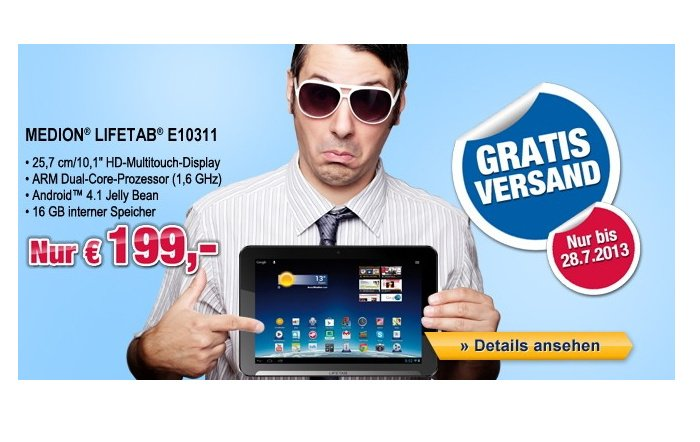 Medion LifeTab E10311 versandkostenfrei für 199,00 Euro