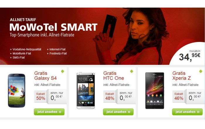 MoWoTel Allnet-Flat für 34,95 Euro monatlich mit Top-Smartphone gratis