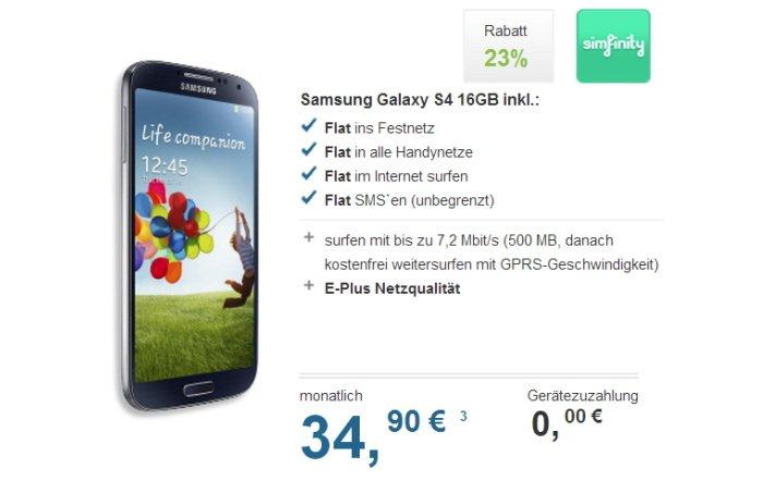 simfinity Flat für 34,90 Euro pro Monat mit Samsung Galaxy S4 gratis