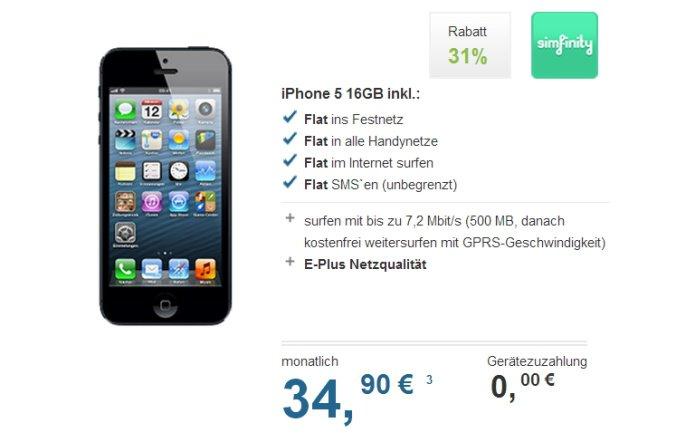 iPhone 5 mit Vertrag: simfinity Allnet Flat für 34,90 Euro monatlich - ohne Zuzahlung