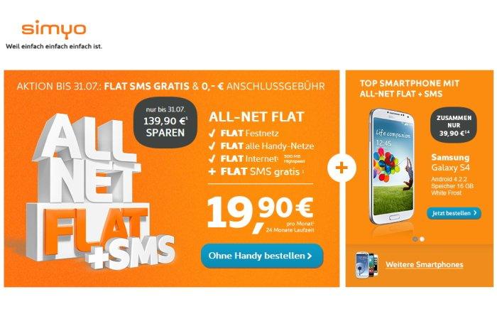 Simyo All-Net Flat mit Gratis SMS-Flat und ohne Anschlussgebühr