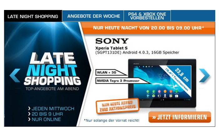 Sony Xperia Tablet S bei Saturn im Late Night Shopping