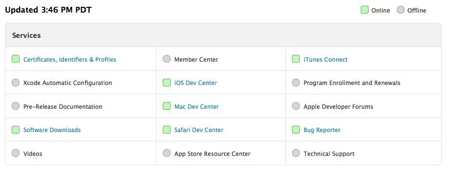 System Status - Apple Developer