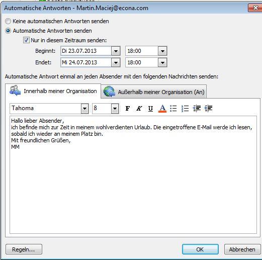 Outlook Abwesenheitsnotiz Einrichten Anleitung Giga