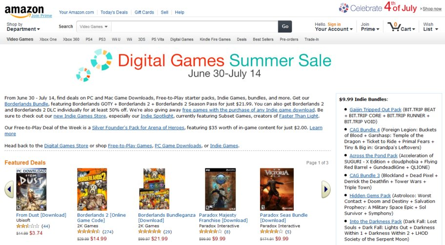 amazon digital games summer sale 2013