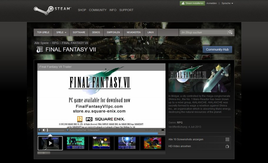 final fantasy vii auf steam