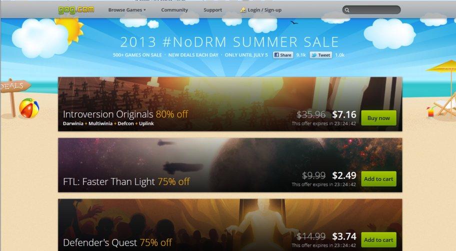 gog nodrm summer sale 2013