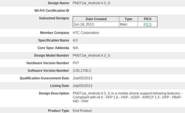 htc-one-android-4-3-bluetooth-zertifizierung