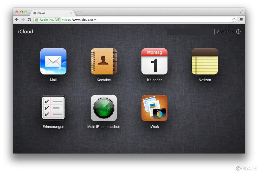 iCloud im Browser-Fenster