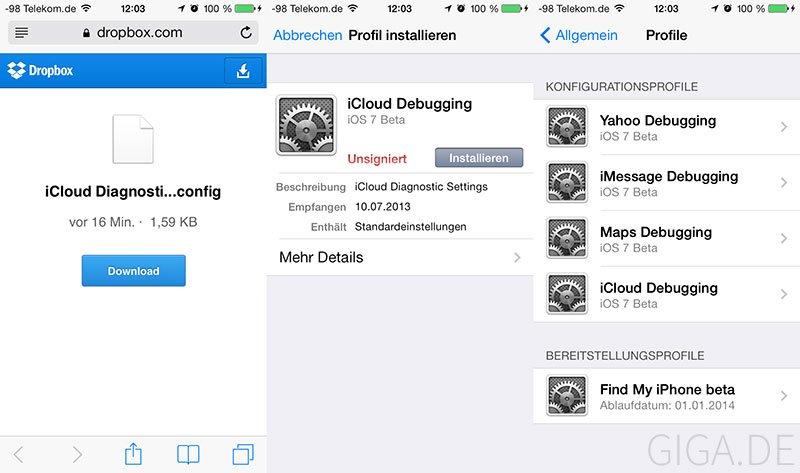 iOS 7 Debug-Settings mittels Mobileconfig freischalten